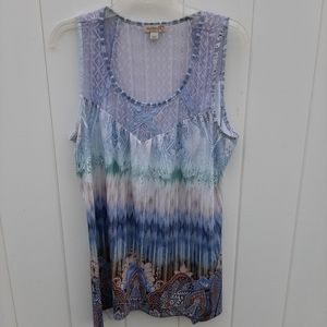 One World Printed Lace Trimmed Tank Top